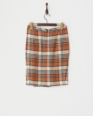 オレンジ チェックプリーツスカート見る