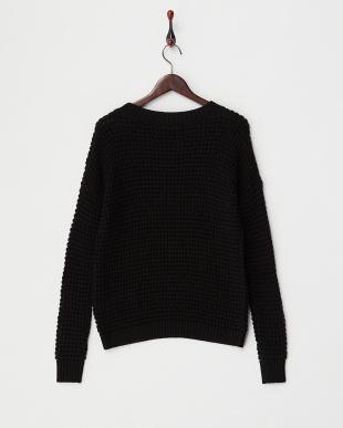 ブラック  ワッフル編みセーター見る