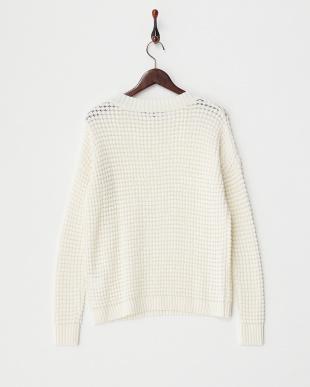 ホワイト  ワッフル編みセーター見る