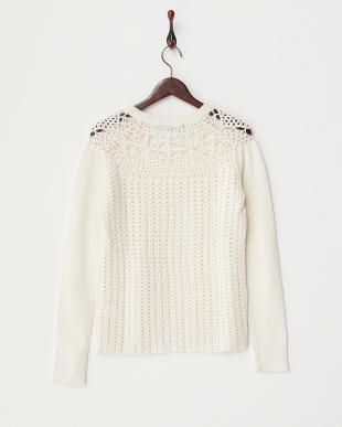 ホワイト クロシェ編み切り替えセーター見る