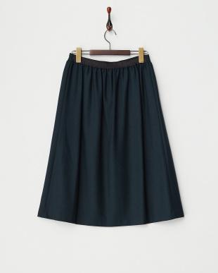 ダークグリーン  ウールジョーゼットスカート見る