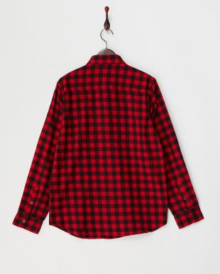 ブラック×レッド  ブロックチェック柄ネルシャツ WH見る