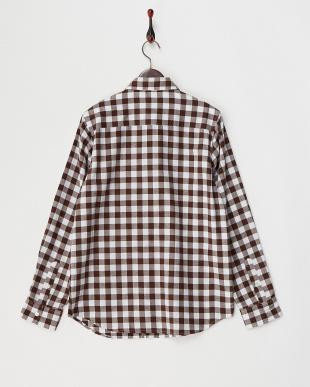ブラウン×ホワイト  ブロックチェック柄ネルシャツ WH見る