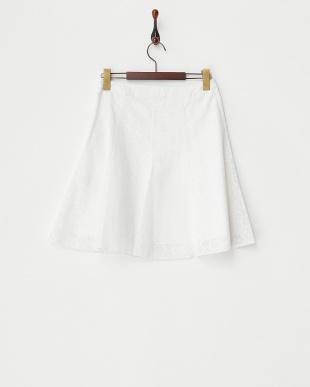 ホワイト 透かし花柄スカート見る