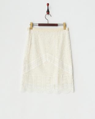 ホワイト PRIMA DONNA総レースタイトスカート見る