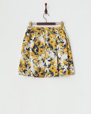 イエロー 花柄プリントスカート見る