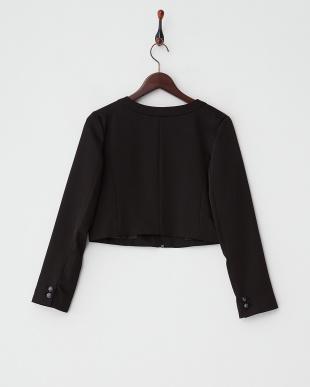 ブラック ビジュー装飾ショート丈ジャケット見る