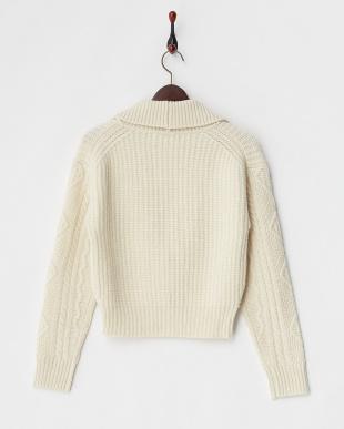 オフホワイト  アラン編みニットジャケット見る