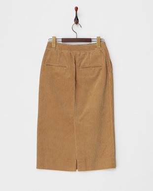 キャメル コーデュロイタイトスカート見る