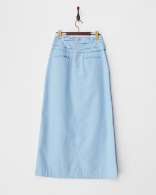 ライトブルー  カットボンディングAラインロングスカート見る