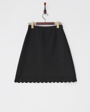 ブラックスカラップニットスカート見る