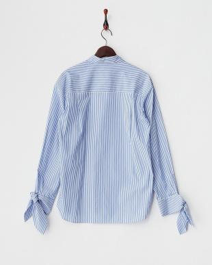 ブルー系ストライプ  ノットデザインスリーブオーバーシャツ見る