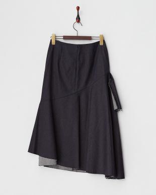 インディゴ ぺプラムフレアデニムスカート見る