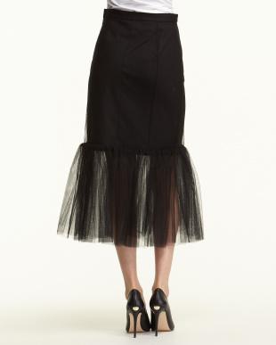 ブラック チュールぺプラムスカート見る