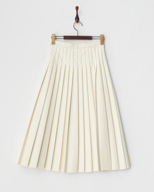 ホワイト  フェイクレザープリーツスカート見る