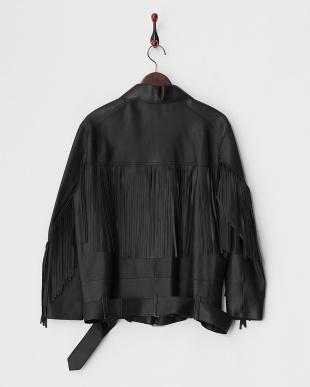 ブラック  レザーフリンジジャケット見る