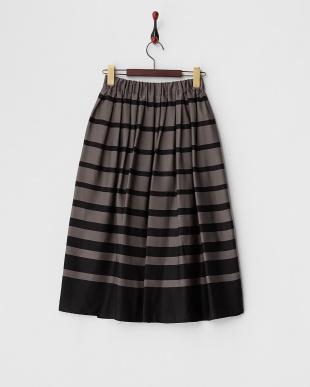 ブラック×ブラウン  ランダムボーダー ミディ丈スカート見る