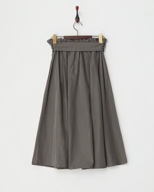 チャコール  Wリボンミディ丈ギャザースカート見る