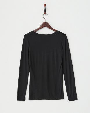 ブラック  機能素材Vネック長袖Tシャツ見る