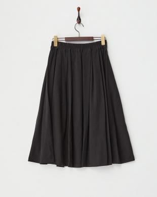 ブラック  リボン付きミディフレアスカート見る