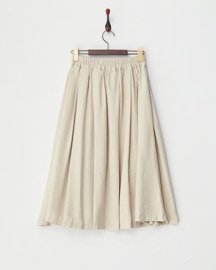 アイボリー  リボン付きミディフレアスカート見る