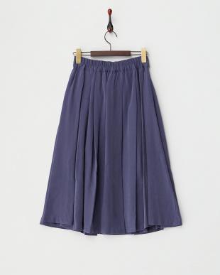 ブルー  リボン付きミディフレアスカート見る