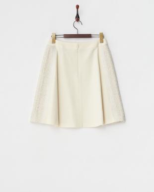 ホワイト  サイドツイード切り替えスカート見る