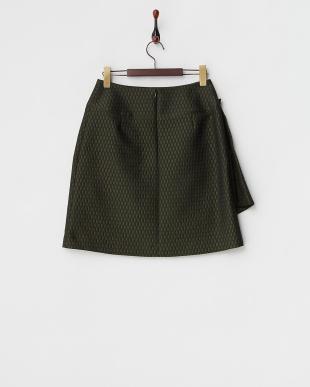 グリーン  ラップデザイン ハニカムジャカードスカート見る