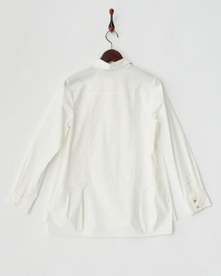 ホワイト  裾タック 比翼ブロードシャツ 見る