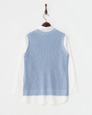 ブルー  衿取り外しシャツレイヤード風ニット見る