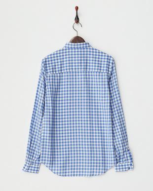 ライトブルー  シルク混レーヨン ギンガムチェックシャツ見る