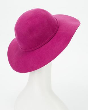 ピンク つば広フェルト帽見る