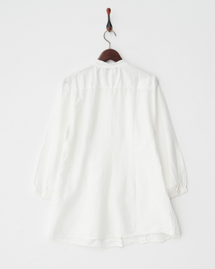 WHITE LT  DYED EMBROIDERY C/SILK PIN TUCK L/S SHIRT DRESS見る