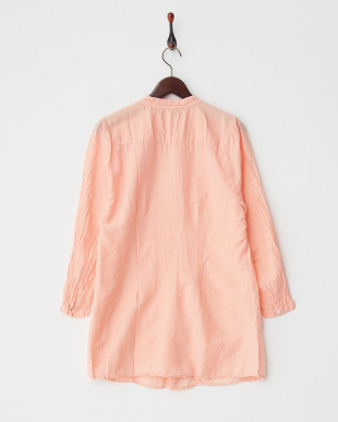 ORANGE LT  DYED EMBROIDERY C/SILK PIN TUCK L/S SHIRT DRESS見る