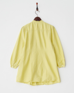 YELLOW LT  DYED EMBROIDERY C/SILK PIN TUCK L/S SHIRT DRESS見る