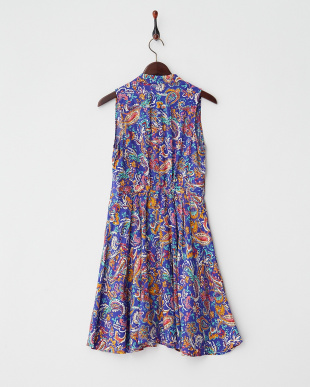 PURPLE MID RAYON PRINT SLV.LESS FLARE DRESS見る