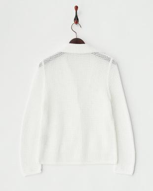 ホワイト  透かし編みジャケット見る