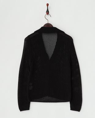 ブラック  透かし編みジャケット見る