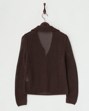 ダークブラウン  透かし編みジャケット見る