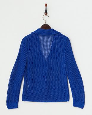 ブルー  透かし編みジャケット見る