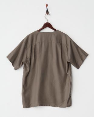 モスグリーン  テンセルツイルミリタリーシャツ見る