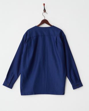 ブルー系 コットンポリエステルサージミリタリーシャツ見る