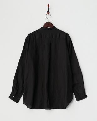 ブラック  リネンバンドカラー ロングスリーブシャツ見る