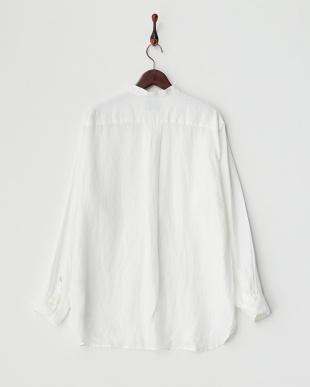 ホワイト  リネンバンドカラー ロングスリーブシャツ見る