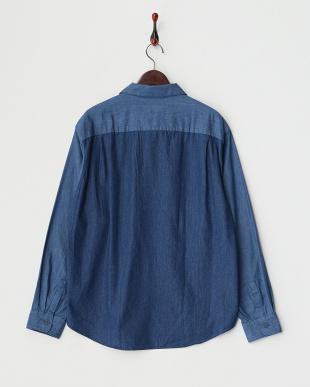 ブルー系  デニムパッチワークシャツ見る