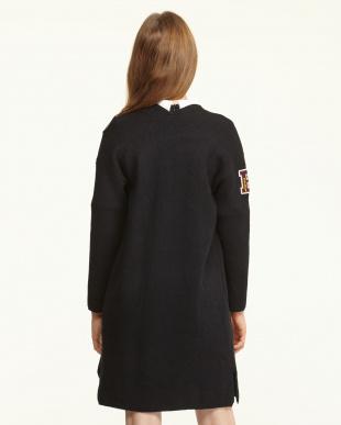 ブラック  ワッペン&刺繍 ロング丈ニットジャケット見る