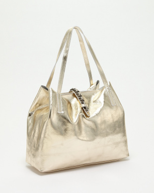 ゴールド  ポーチ付きチェーン装飾ベルトバッグ見る