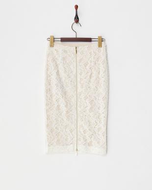 ホワイト系  バックダブルジップレースタイトスカート見る