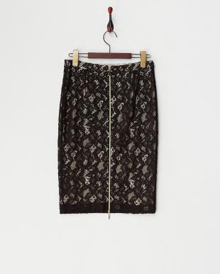 ブラック系  バックダブルジップレースタイトスカート見る