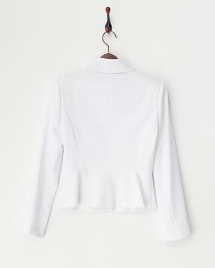 ホワイト  衿ビジュー付きくるみボタンジャケット見る